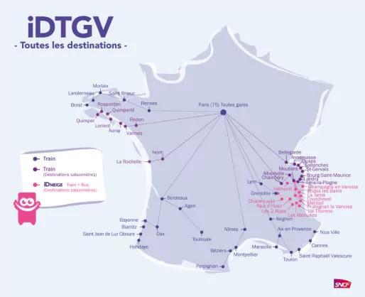 Les destination ID TGV (document SNCF)