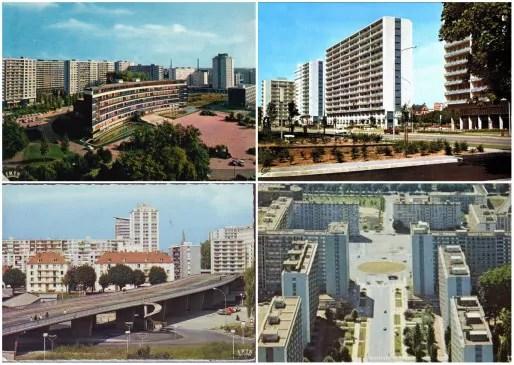 Vers 1970, une fois la construction du nouveau quartier achevée (Delcampe)