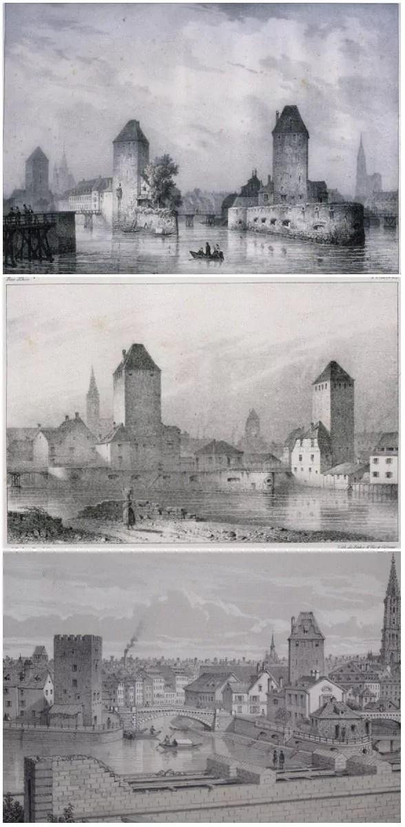 Lithographies de 1828 et 1839 (BNU) et de 1869 (DRAC Alsace)