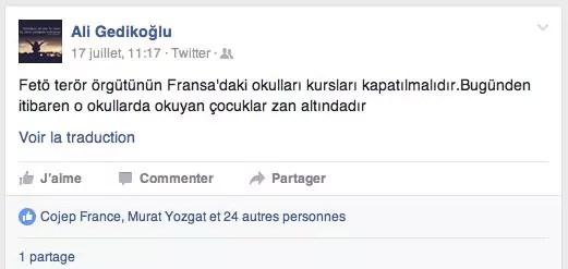 Publication d'Ali Gedikoglu sur Twitter, le 17 juillet.