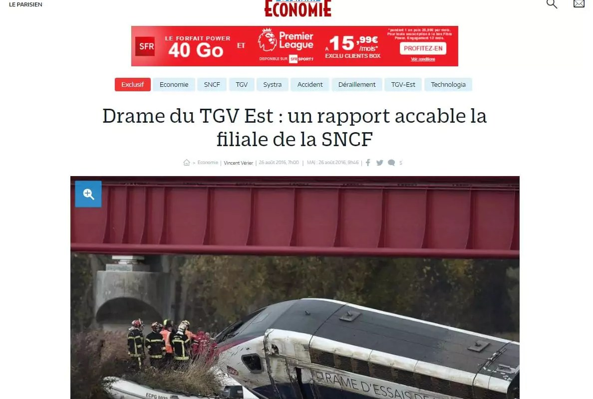 Accident de TGV : la filiale de la SNCF mise en cause