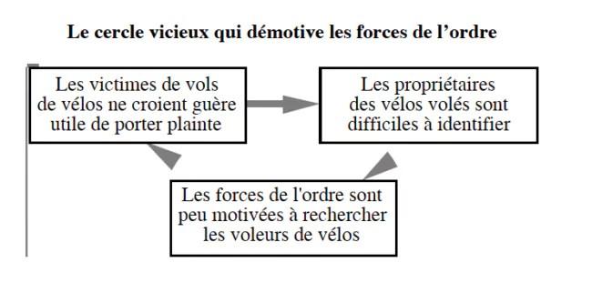 Un schéma issu du rapport sur le vol de bicyclette en France (Document remis)