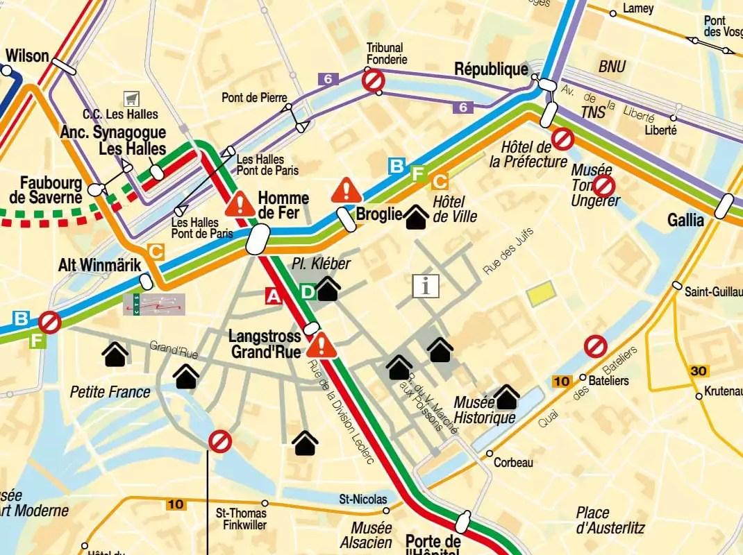 Pour aller en tram au Marché de Noël, arrêtez-vous avant le centre-ville