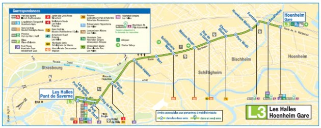 """La partie entre Hoenheim Gare et les Halles de l'ex ligne 6 devient """"L6"""" (document CTS)"""