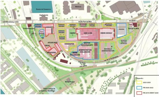 """La Virgule est la partie ouest du site de la Coop, à côté du demi-cercle au centre du plan. La """"maison d'angle"""" se situe au nord est du """"garage"""". Cliquez sur l'image pour l'agrandir. (plan fourni fin 2018 par la SPL des Deux-Rives)"""