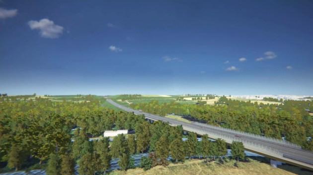 Aperçu du viaduc de la Bruche du GCO entre Kolbsheim et Vendenheim (image Arcos / Vinci)