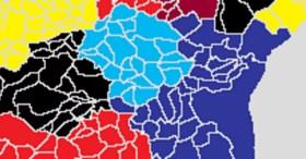 La CoCoKo et sa taxe incitative sur les déchets est en bleu clair, l'Eurométropole, sa taxe fixe et ses containers sur la voie publique dans les quartiers ouest de Strasbourg est en violet (carte wikipedia)