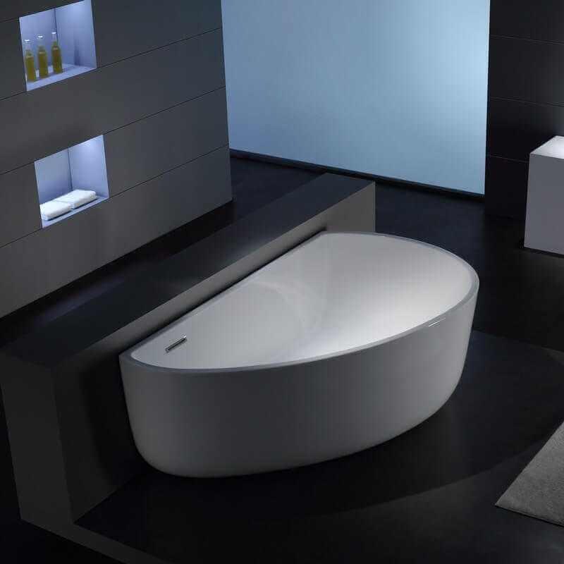 Baignoire Lot Asymtrique 170x100 Cm Acrylique Blanc Arc