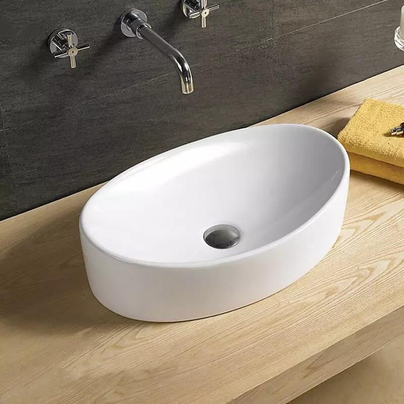 Vasque Ovale Ceramique Blanc Wave Vasques A Poser Ovales