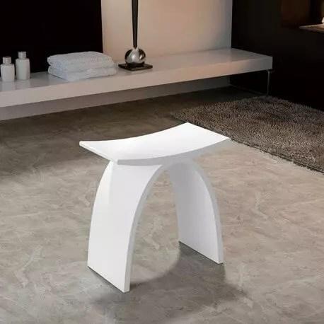 Tabouret Sige De Salle De Bain 42x23cm Composite Blanc