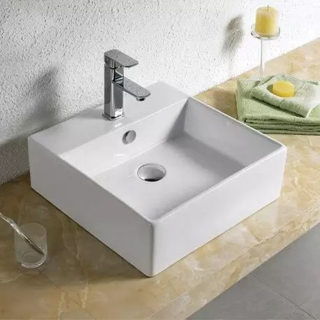 Vasque A Poser Carree Ceramique Blanc Quadra Vasque 47 X 47 Cm