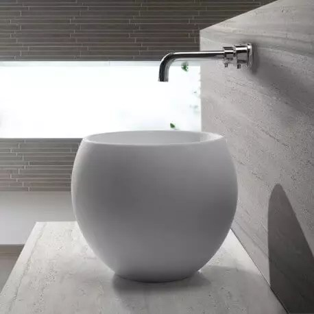 vasque a poser ronde haute solid surface blanc mat 40 cm nature