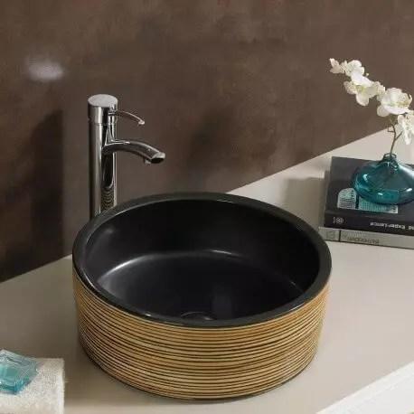 Vasque Poser Ronde En Cramique Soon Vasque Noire