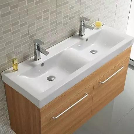 lavabo double vasque ceramique 120x46 cm essentiel rue du bain