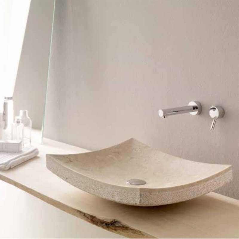 Vasque Poser Rectangulaire Beige Profil Vasque En Pierre