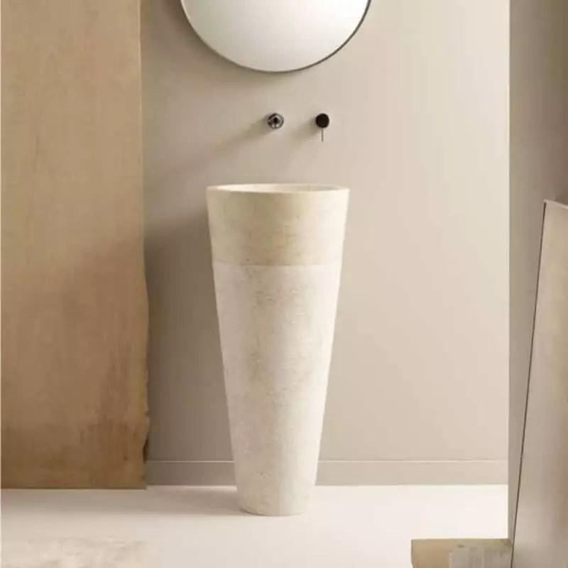 lavabo totem rond pierre beige 90x40 cm ultime