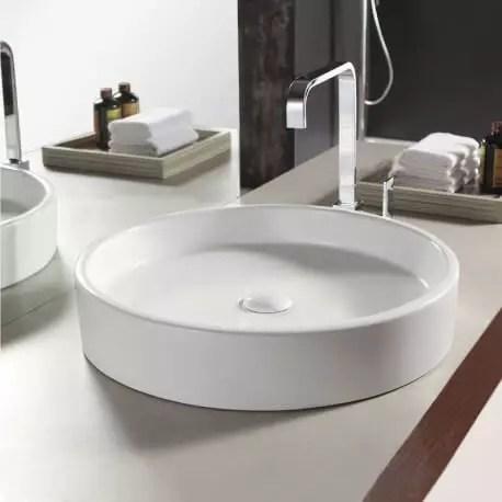 Vasque A Poser Ronde Ceramique Fame Vente De Vasques Blanches