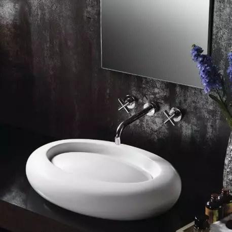 Vasque A Poser Ceramique Blanche Artic Vente Vasques Ovales Design