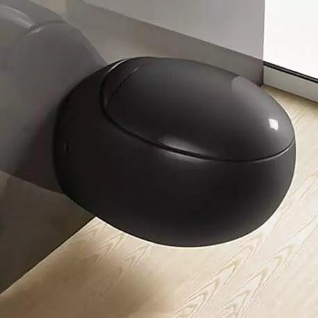 wc suspendu oeuf avec abattant ceramique noir brillant 59x41 cm ove