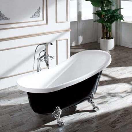 baignoire ilot ovale blanche et noire rue du bain