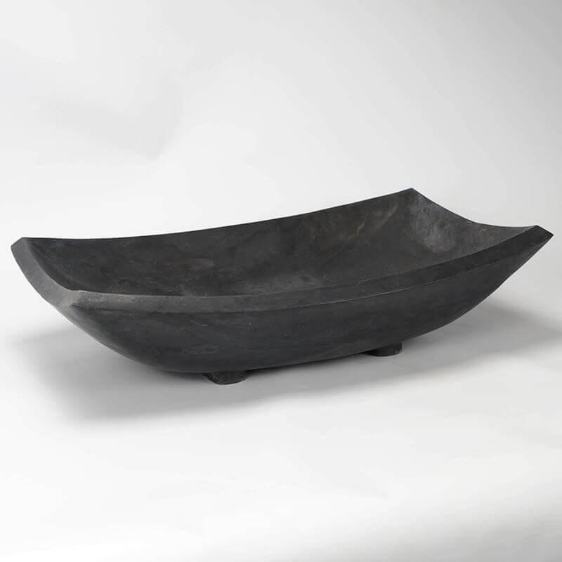 Vasque Poser Rectangulaire Pierre Noire Plume Vasques