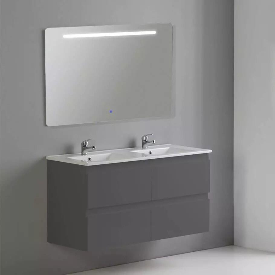 Meuble 4 Tiroirs 2 Vasques Et Miroir Led Gris Antrhacite Rue Du Bain