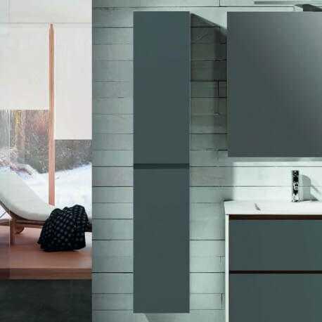 colonne de salle de bain 2 portes gris anthracite 160x35 cm mia