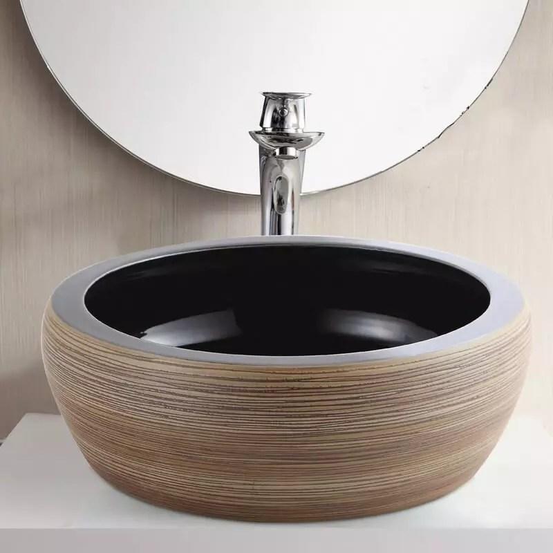 vasque a poser ronde ceramique rainuree marron et beige 41 cm tierra