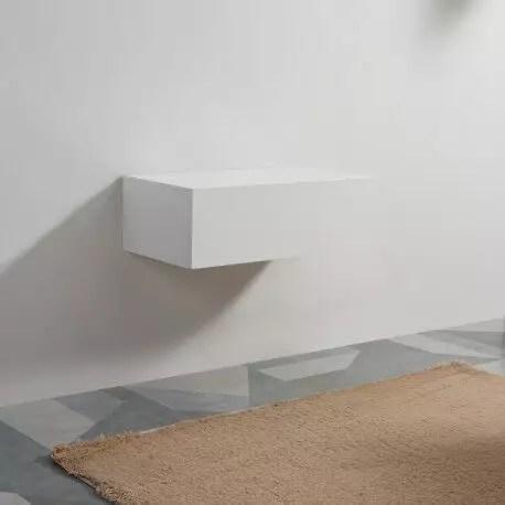 meuble de rangement 1 tiroir blanc 90x50 cm facade mdf 19 mm city