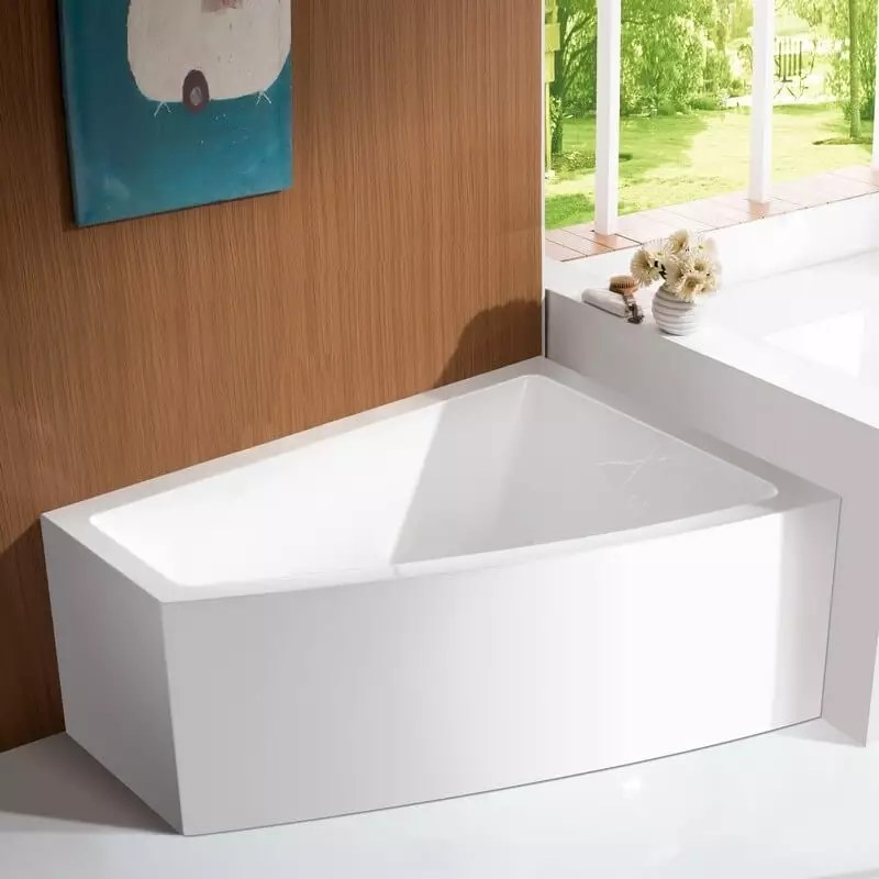 baignoire d angle a droite bain douche asymetrique acrylique blanc 160x120 cm kingston
