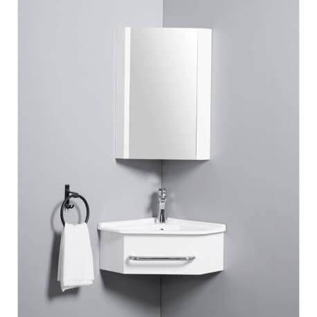meuble de salle de bain d angle gain de place lave main blanc creme 42x42 cm kara