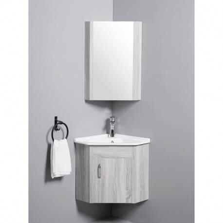 meuble de salle de bain d angle gain de place lave main fil blanchi 42x42 cm corner