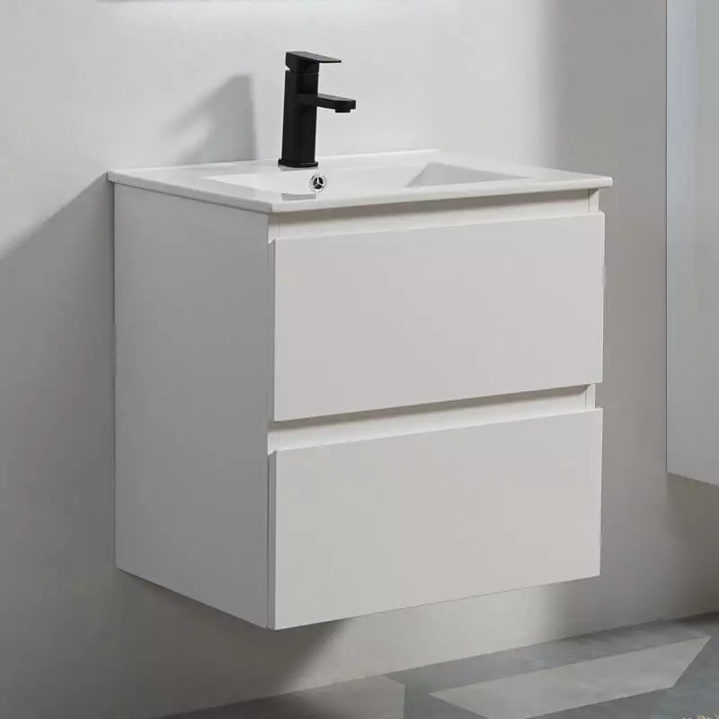 pack meuble vasque 2 tiroirs 60 cm et