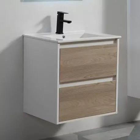 meuble de salle de bain 2 tiroirs blanc et chene gris vasque 60x46 cm scandinave