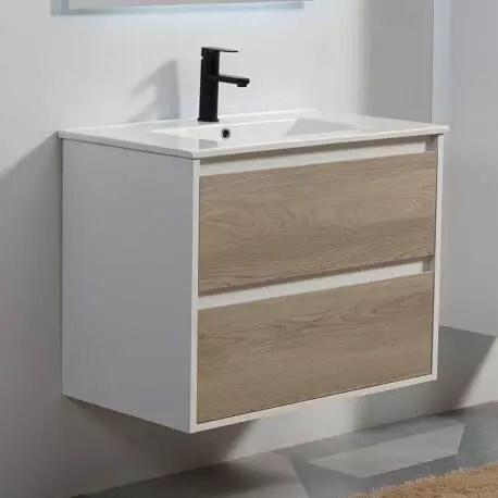 meuble de salle de bain 2 tiroirs blanc et chene gris vasque 80x46 cm scandinave