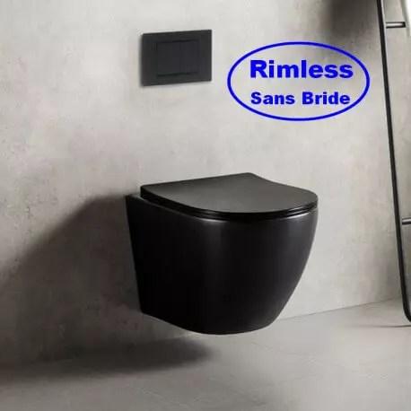 wc suspendu ovale avec abattant ceramique noir brillant sans bride 49x36 cm cort