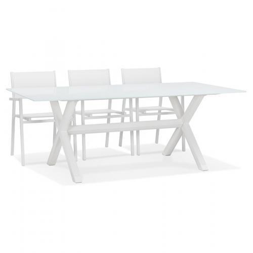 table de jardin en verre malaga blanche avec pied en x