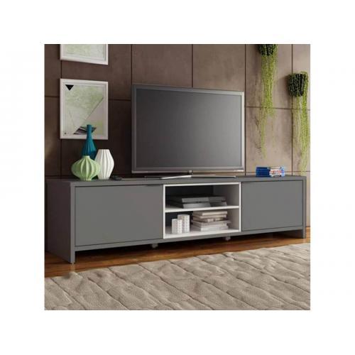 bobochic meuble tv 180 cm trendo 2 portes 1 etagere gris