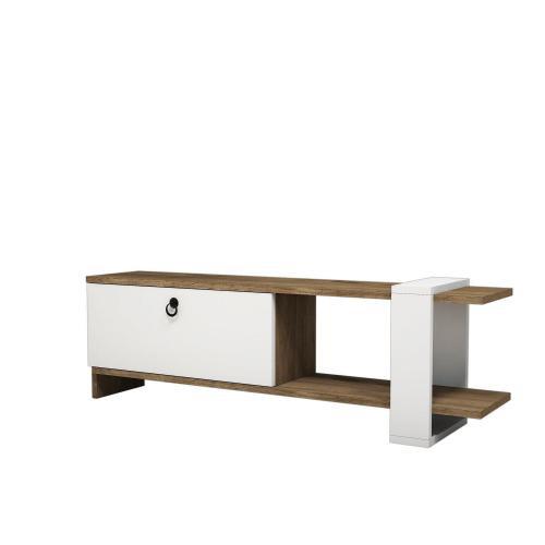 meuble tv design scandinave gaye l 120 x h 37 cm blanc