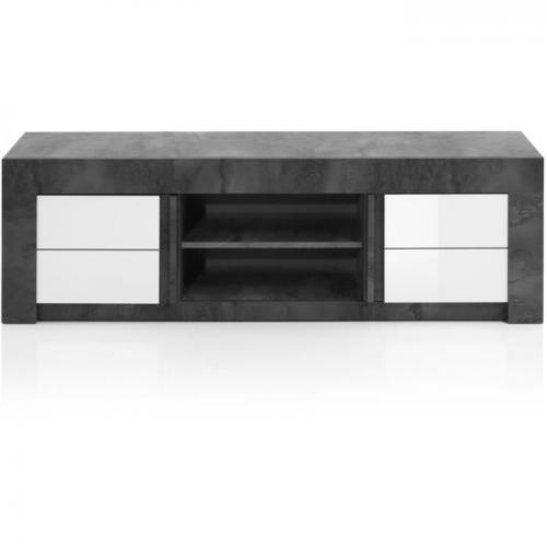 meuble tv meuble hi fi meuble tv 2 portes blanc l 170 x p 46 x h 50 cm