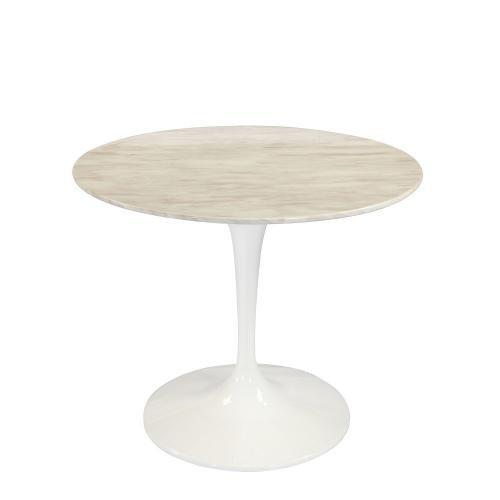 table ronde de repas design tulipe plateau en marbre gris beige 90 cm