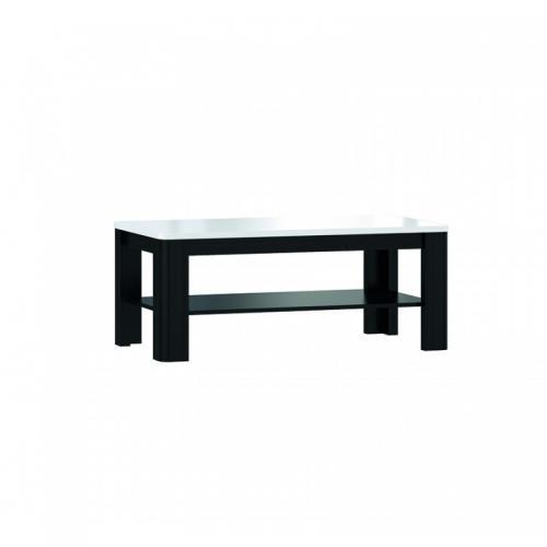 table basse rectangulaire plateau laque blanc et pietement bois noir alexiane