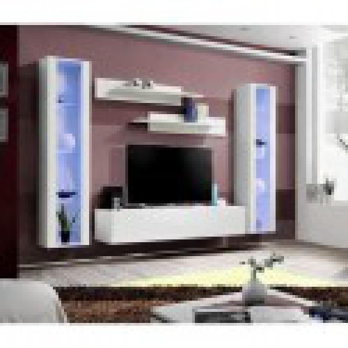 meuble tv fly a2 design coloris blanc brillant led meuble suspendu moderne