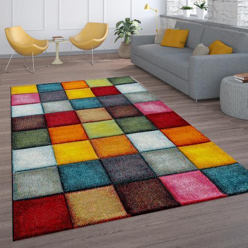 tapis de salon a poils ras design carreaux colore carre multicolore colore