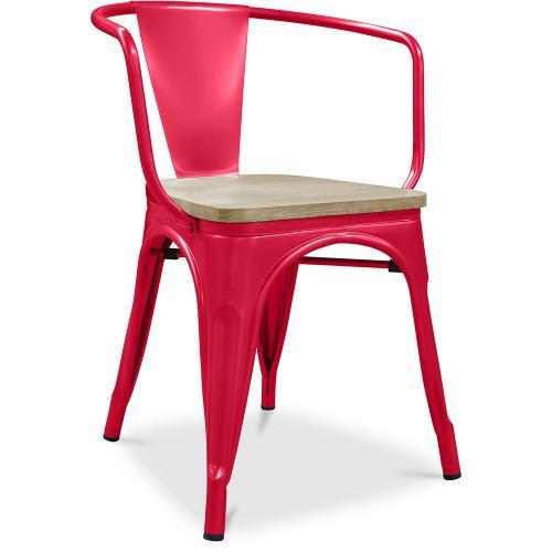chaise avec accoudoir style tolix metal et bois clair