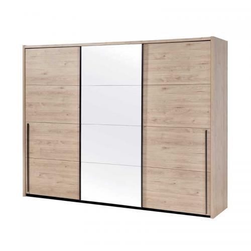 armoire 3 portes coulissantes 250 cm bois clair miroir anaelle