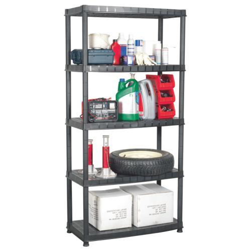 vidaxl etagere de rangement a 5 niveaux noir 91 5x45 7x185cm plastique