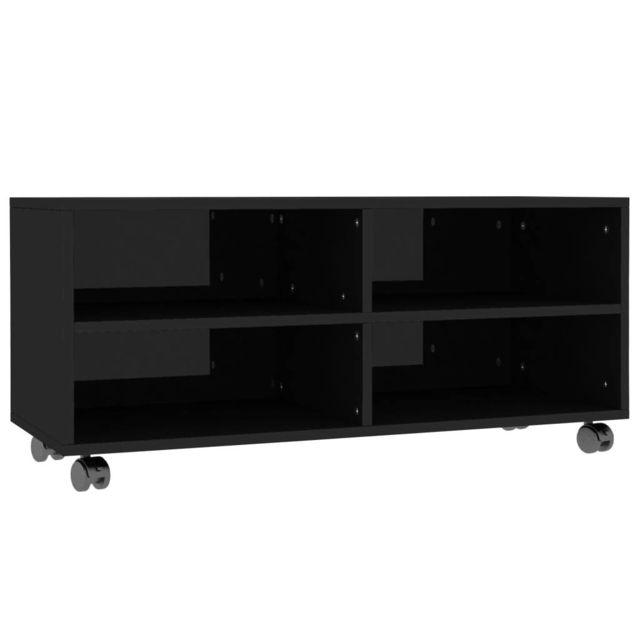 icaverne meubles tv edition meuble tv avec roulettes noir brillant 90x35x35 cm