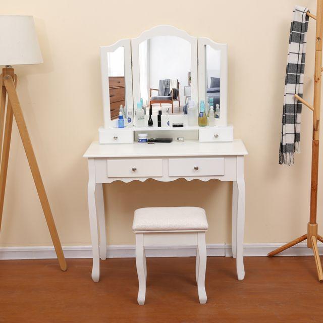 90 x 40 x 145 cm l l h blanc coiffeuse table de maquillage avec 3 miroir 4