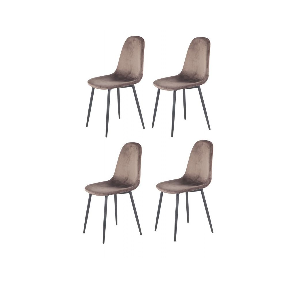 4 chaises velours marron biba